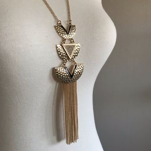 Express gold long statement necklace